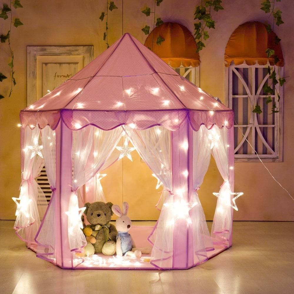 pretty nice d6cb8 3ed62 Details about Pink Princess Castle Play House Indoor/Outdoor Kids Play Tent  + Fairy Light