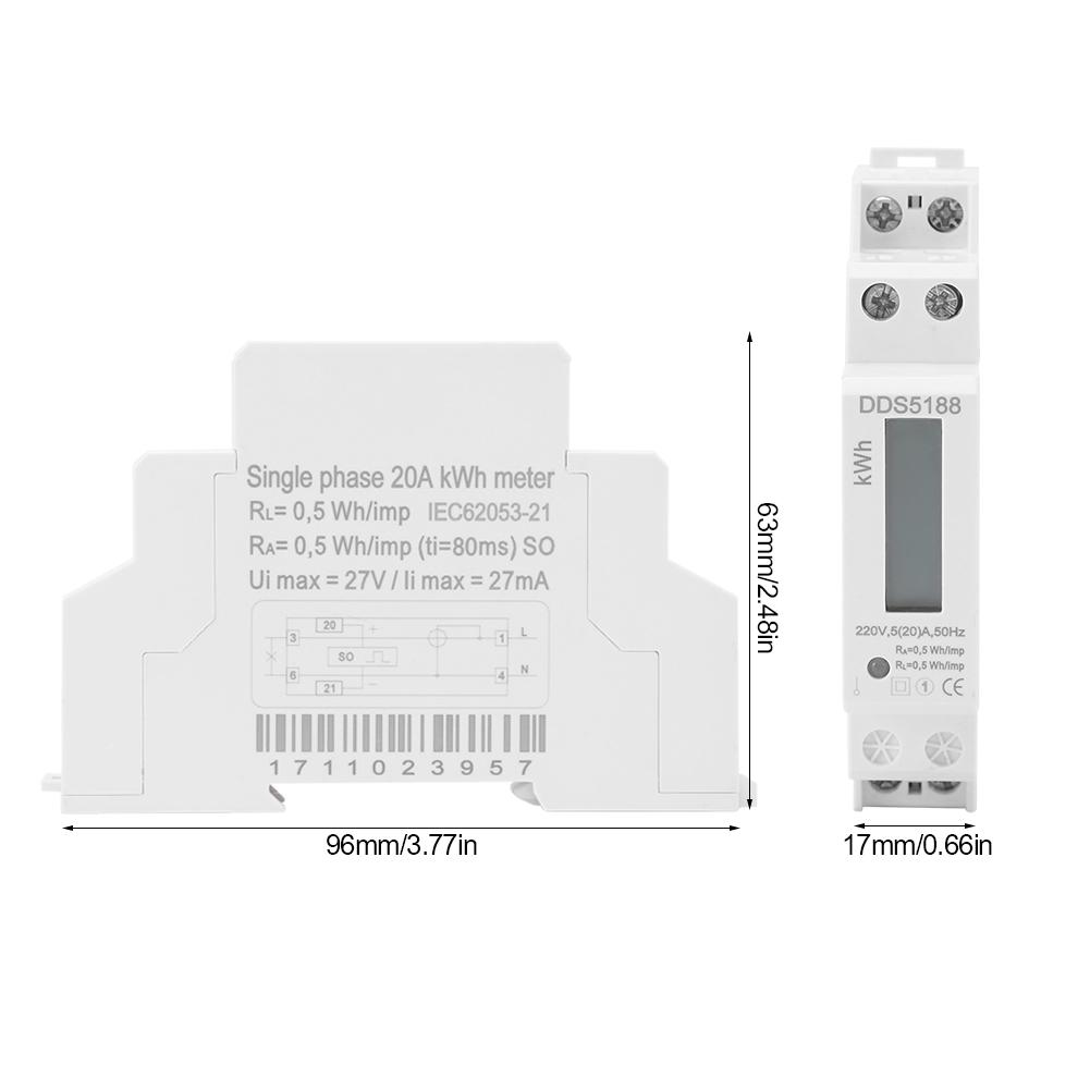 Digital Lcd Single Phase Din Rail Electric Watt Energy Meter Ac220v Kwh Wiring Diagram 532a