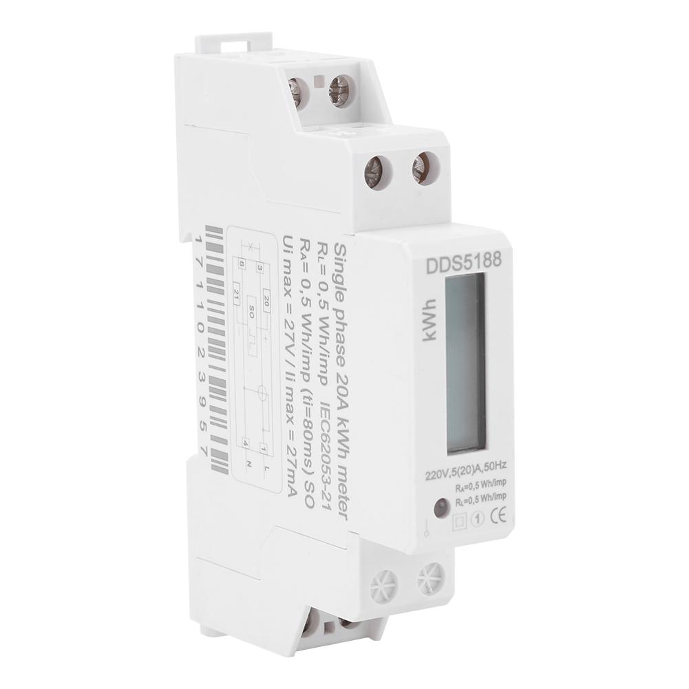 Digital Lcd Single Phase 1p Din Rail Electric Meter Dds5188 Watt Kwh Wiring Diagram Hour
