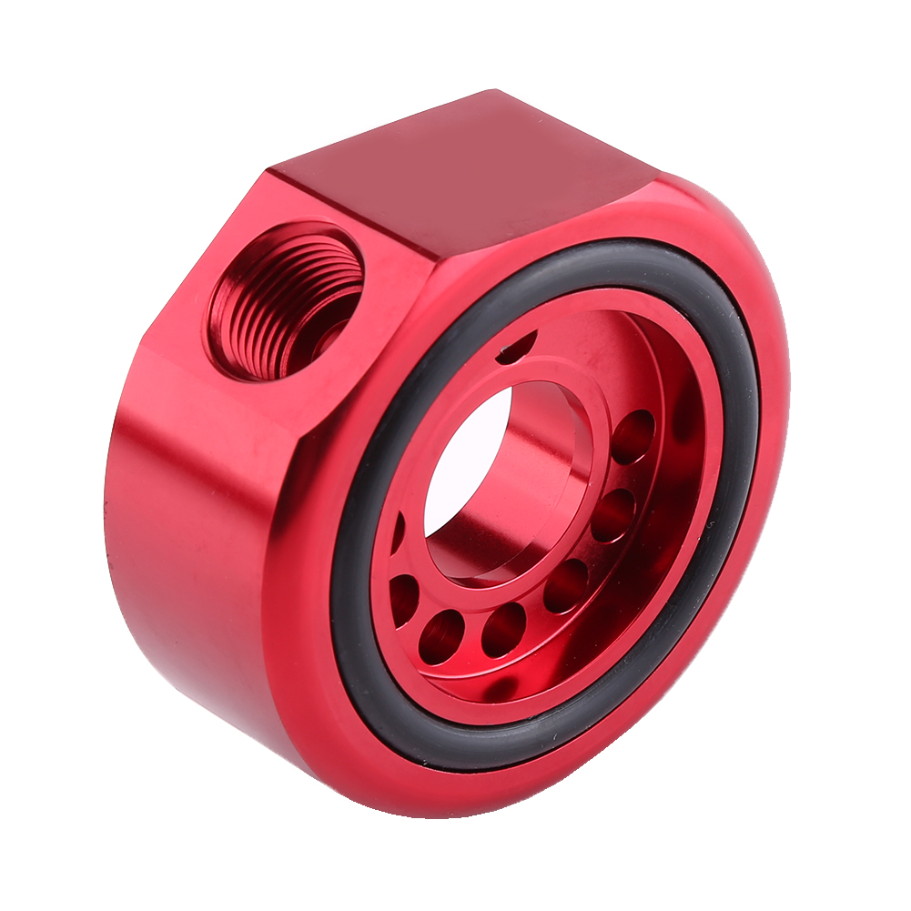 Red Engine Oil Filter Sandwich Plate Cooler Adapter Red