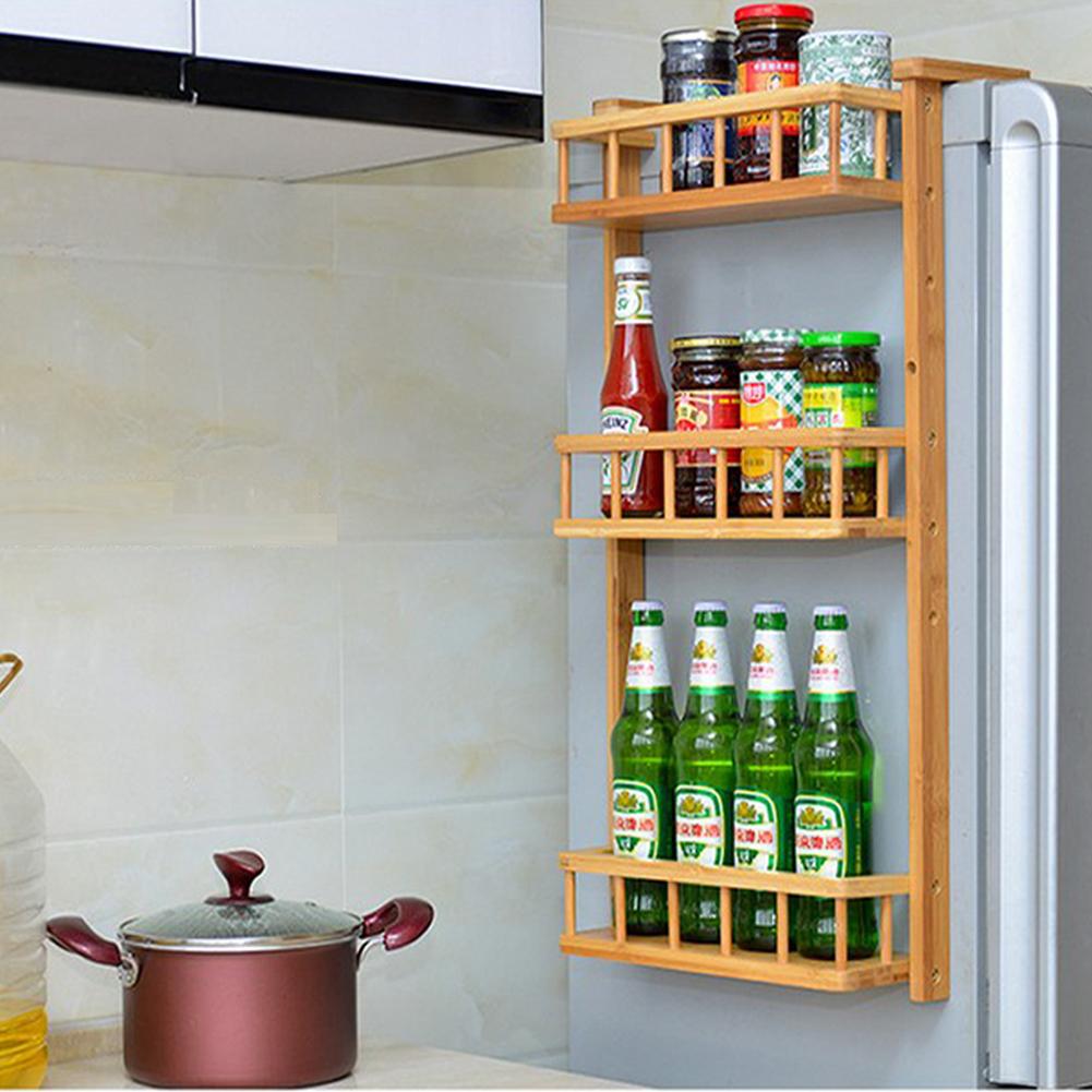 Details zu Bambus Kühlschrank Küche Regal stapelbar Flaschenregal Halter  Gewürzhalterung 17S