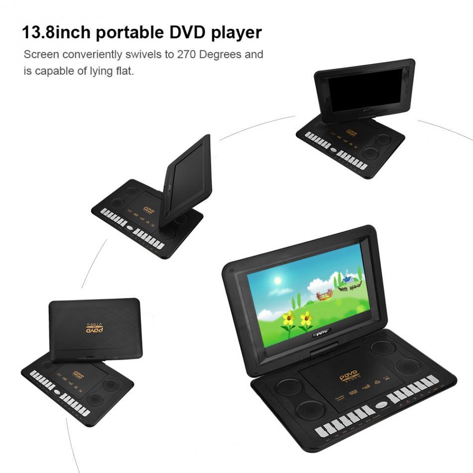 13 9 portable dvd player vcd evd mp4 cd mp3 swivel 270 usb w control sd card 883330817513 ebay. Black Bedroom Furniture Sets. Home Design Ideas