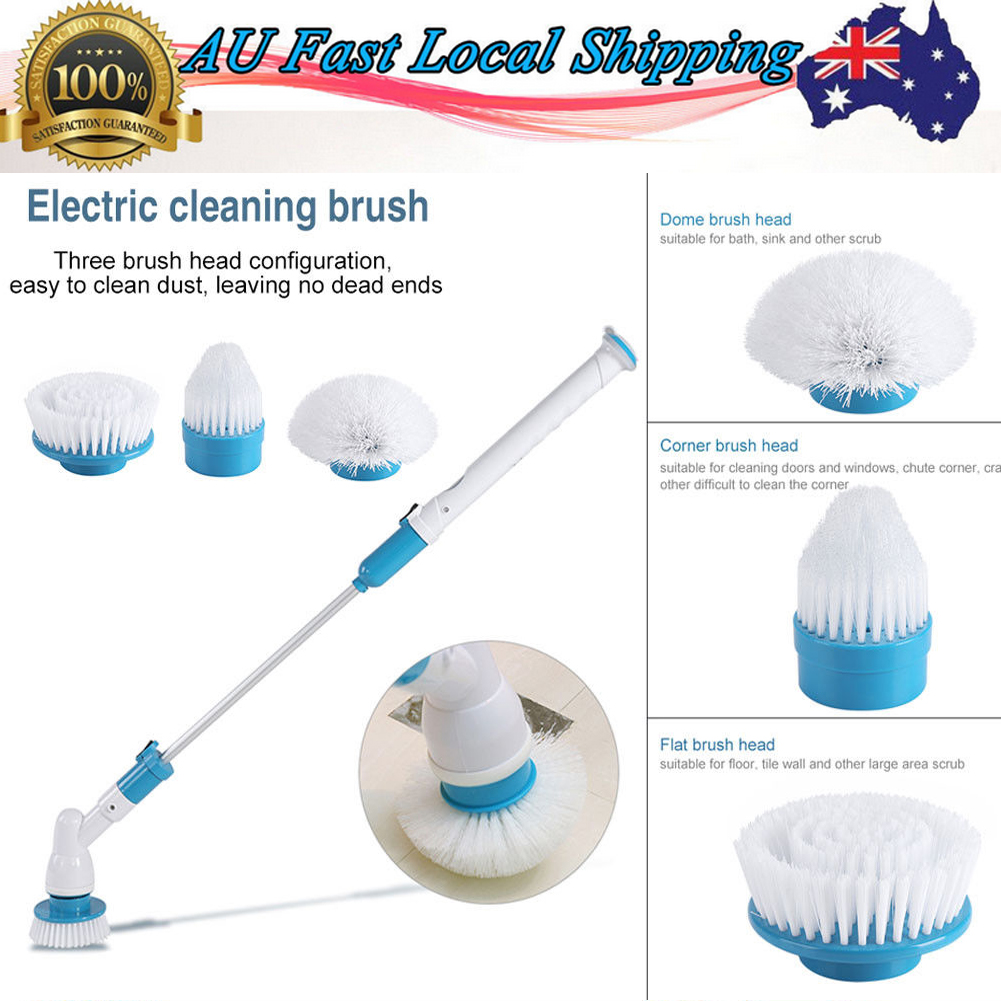 3 Heads Electric Spin Scrubber Cleaning Brush Bathroom Floor Household Clean