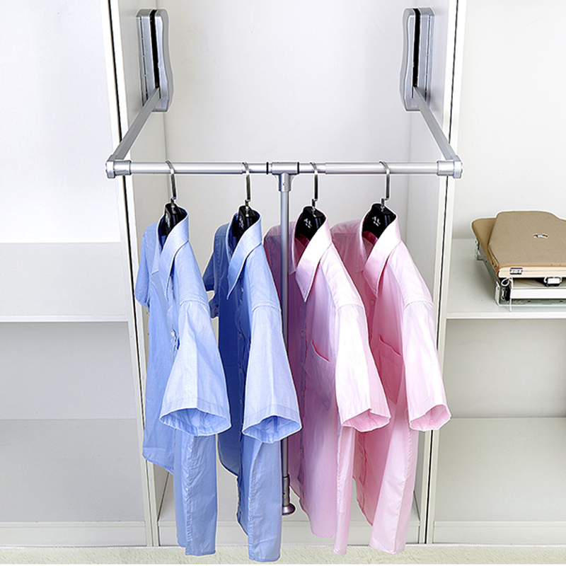 Hot Lift Pull Down Wardrobe Rail Clothes Hanger Adjule Soft Return Us