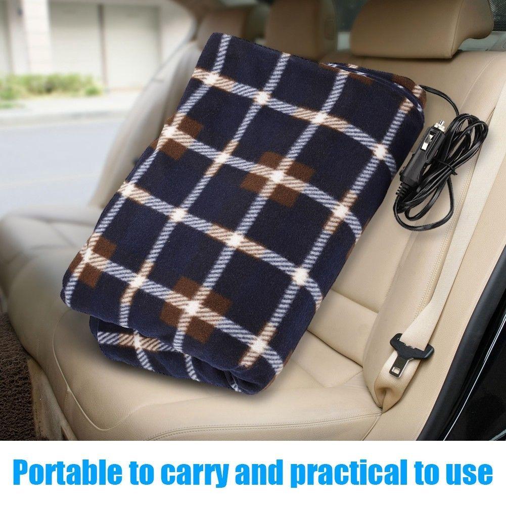 Electric Heated Car Blanket Travel Rug Soft Caravan Fleece