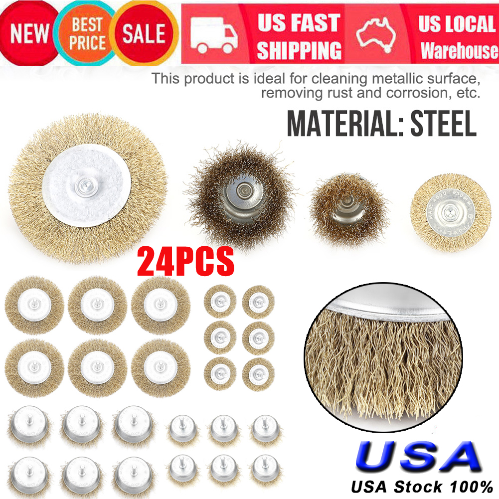 24Pcs Wire Wheel Cup Brush Tools Set Kit 6mm Shank For Die Grinder Drill
