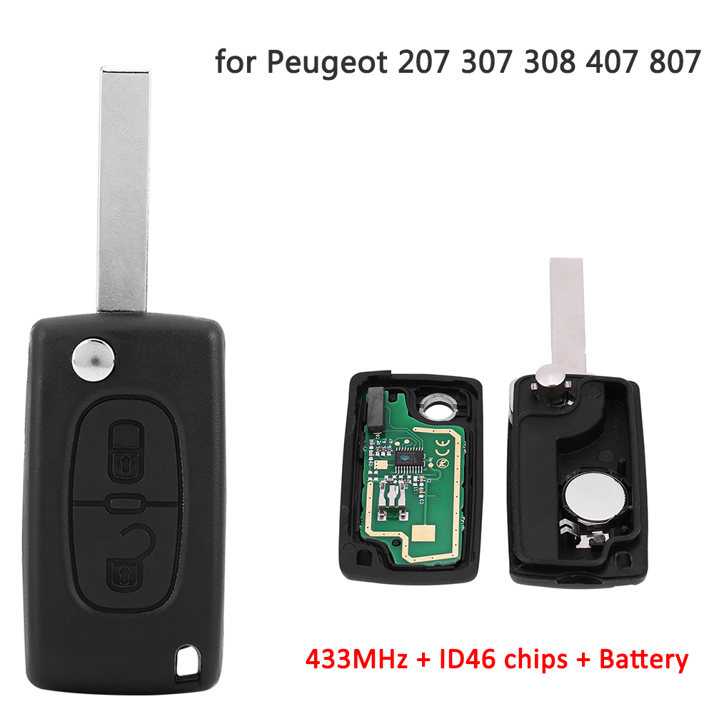 Details about 2 Buttons Keyless Entry Remote Key 433MHz ID46 For Peugeot  207 307 308 407 807