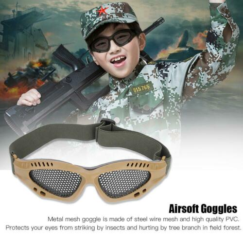 Outdoor-Protective-Steel-Metal-Mesh-Airsoft-Half-Face-Mask-Tactical-Goggles thumbnail 2