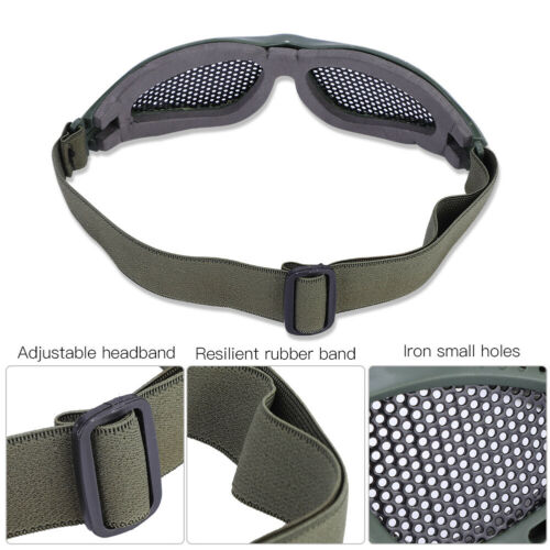 Outdoor-Protective-Steel-Metal-Mesh-Airsoft-Half-Face-Mask-Tactical-Goggles thumbnail 8