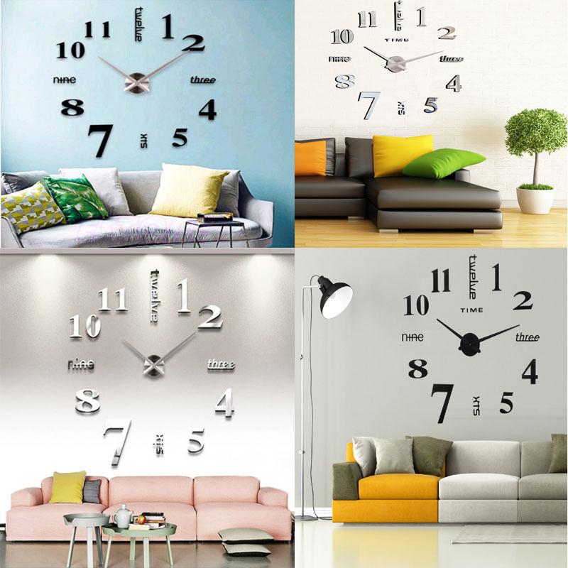 3d diy wall clock home modern decoration crystal mirror stic