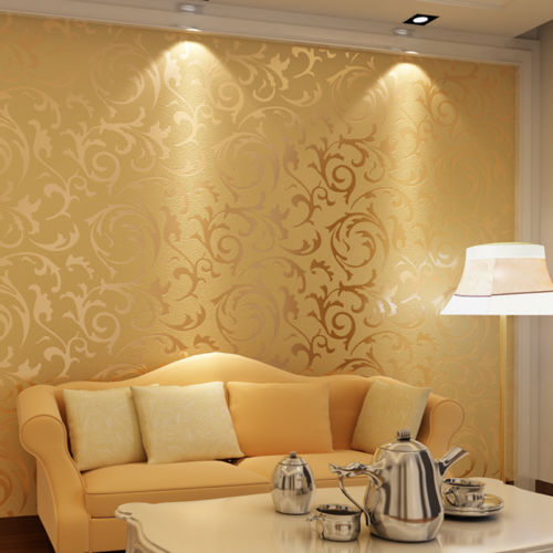 3D High Level Wall Paper Gold Leaf Sticker Film Decor Embossed ...