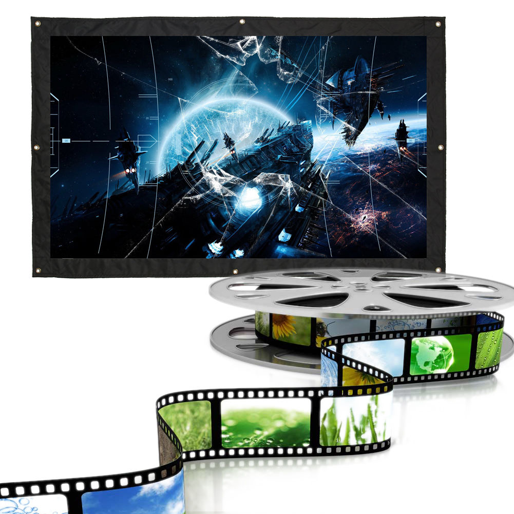 150 inch outdoor projector movie screen 16 9 portable for Best portable projector for home theater