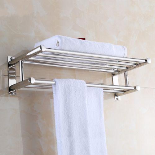 Details About Wall Mounted Dual Row Bathroom Towel Shelf Rail Rack Storage Holder Silver Us