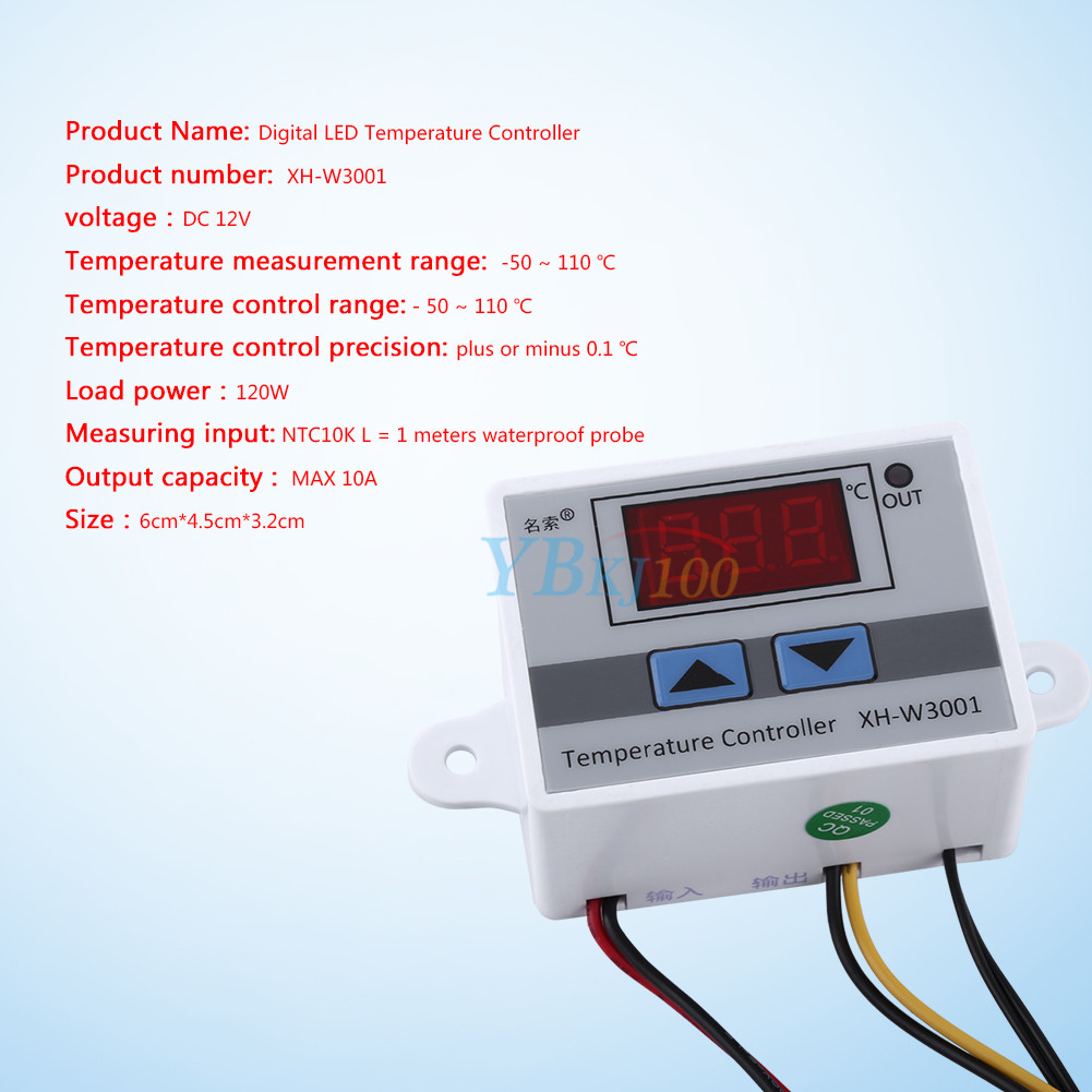 Waterproof Probe Digital LED Temperature Controller Thermostat 12V 120W 73MM