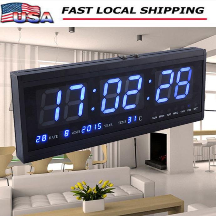 Blue Large Jumbo Digital Led Wall Clock Desk Calendar