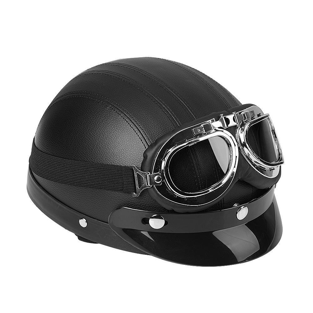 motor leder retro helm motorradhelm halbschale brille f r. Black Bedroom Furniture Sets. Home Design Ideas