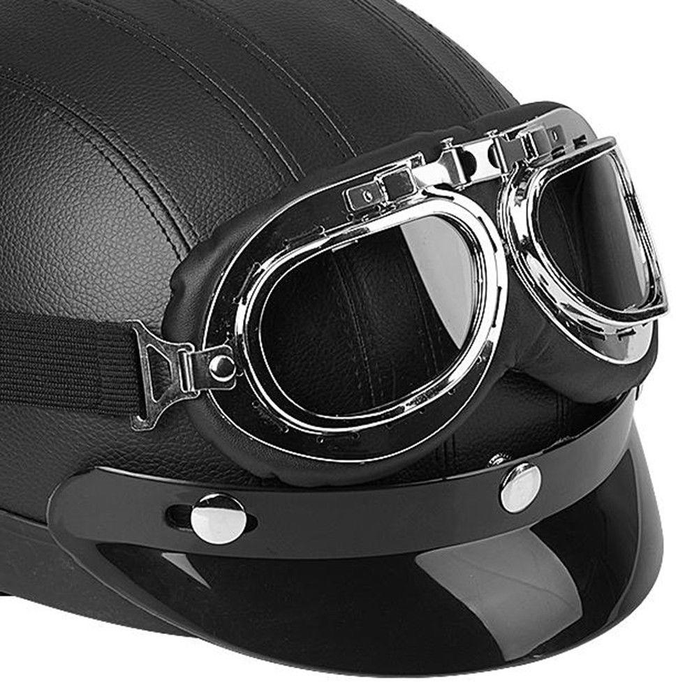 motor leder retro helm motorradhelm halbschale brille f r. Black Bedroom Furniture Sets. Home Design Ideas