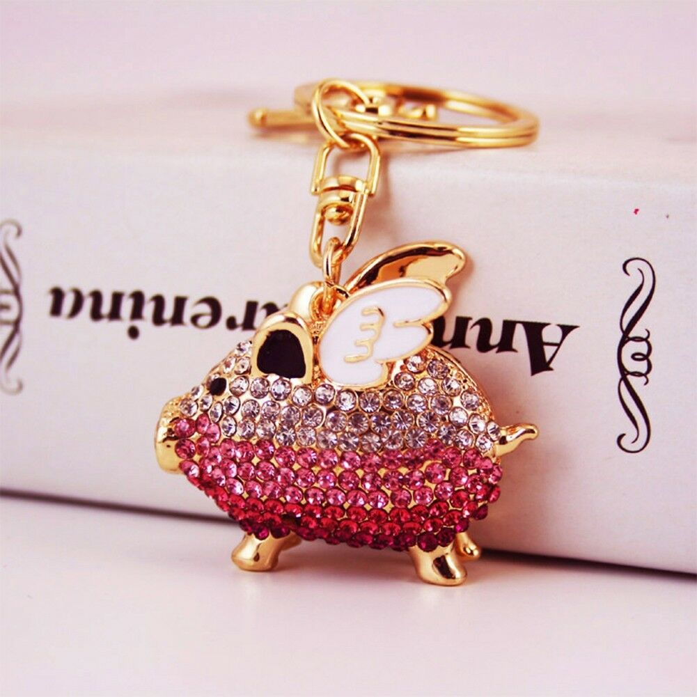 Rhinestone Crystal Flying Bee Pendant Key Ring Bag Car Key Finder Keychain