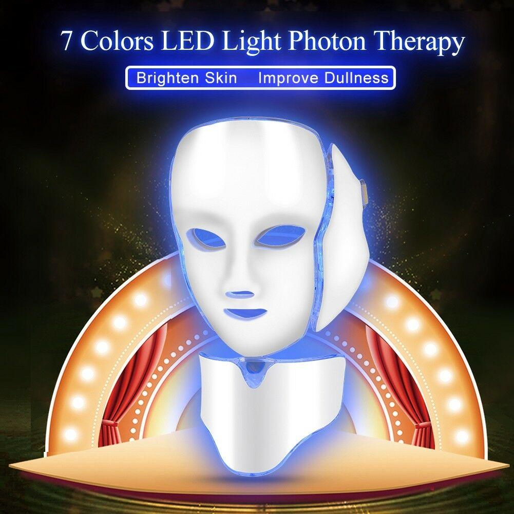 7-Colors-LED-Facial-Neck-Mask-Skin-Rejuvenation-Wrinkle-Removal-Beauty-Care-UK-H thumbnail 14