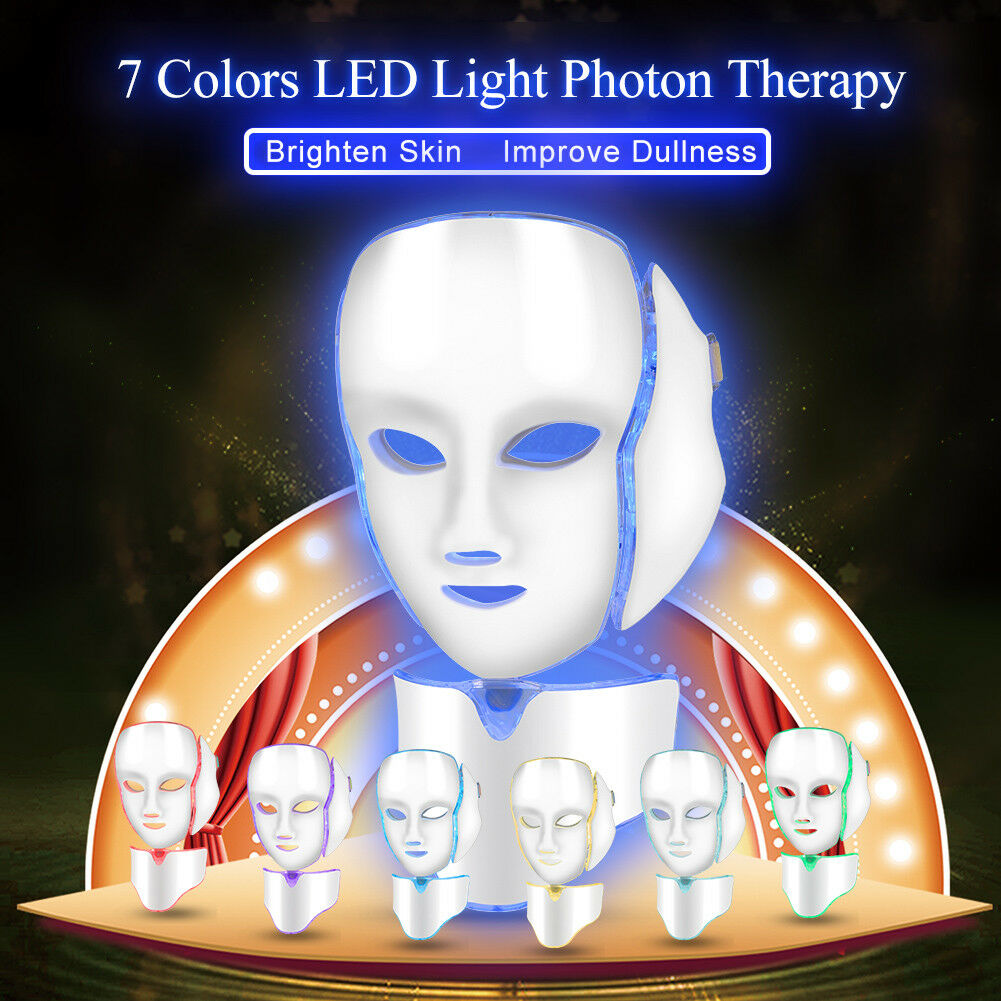 7-Colors-LED-Facial-Neck-Mask-Skin-Rejuvenation-Wrinkle-Removal-Beauty-Care-UK-H thumbnail 21
