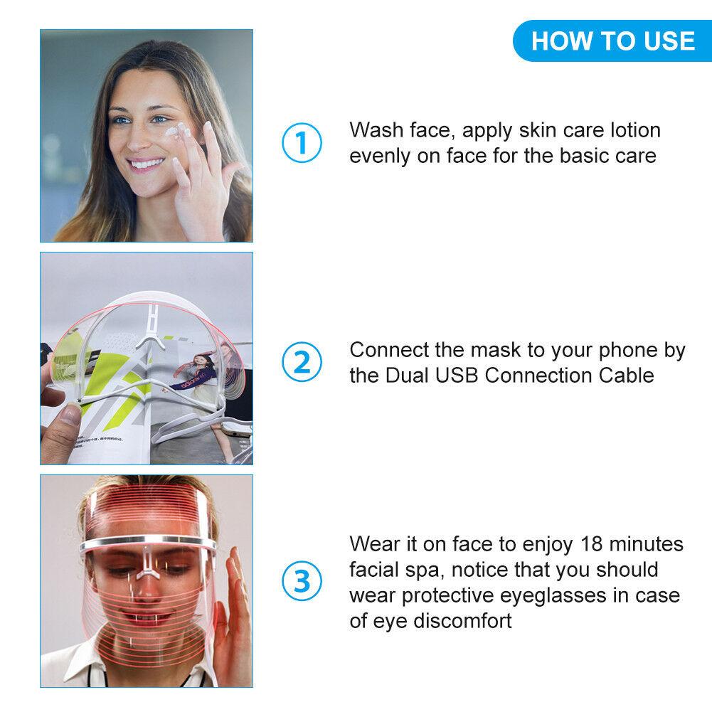 7-Colors-LED-Facial-Neck-Mask-Skin-Rejuvenation-Wrinkle-Removal-Beauty-Care-UK-H thumbnail 24