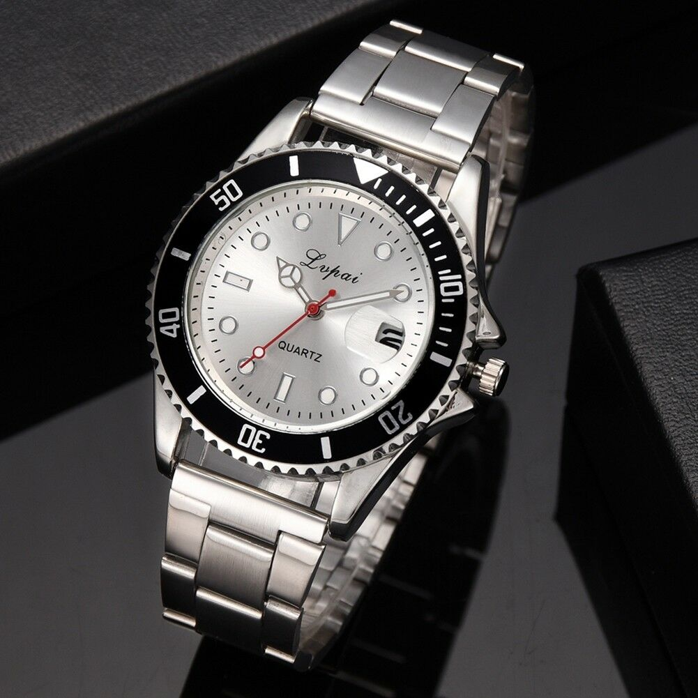 Fashion-Luxury-Mens-Crystal-Dial-Watch-Stainless-Steel-Analog-Quartz-Wrist-Watch thumbnail 14