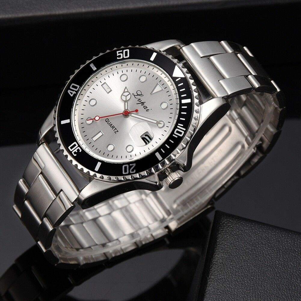 Fashion-Luxury-Mens-Crystal-Dial-Watch-Stainless-Steel-Analog-Quartz-Wrist-Watch thumbnail 15
