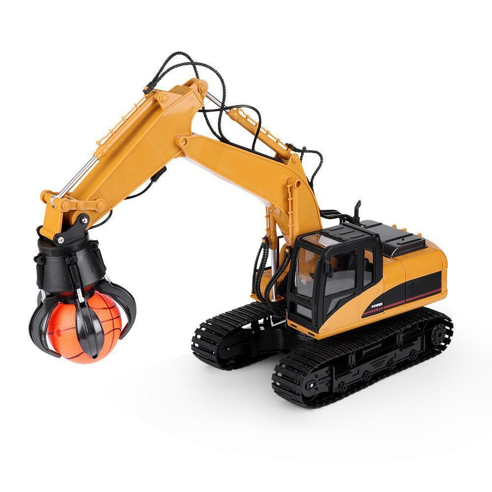 HUINA-1580-1-14-3-in-1-Full-Metal-Excavator-Drill-Grapple-RC-Engineering-Car-s miniature 29