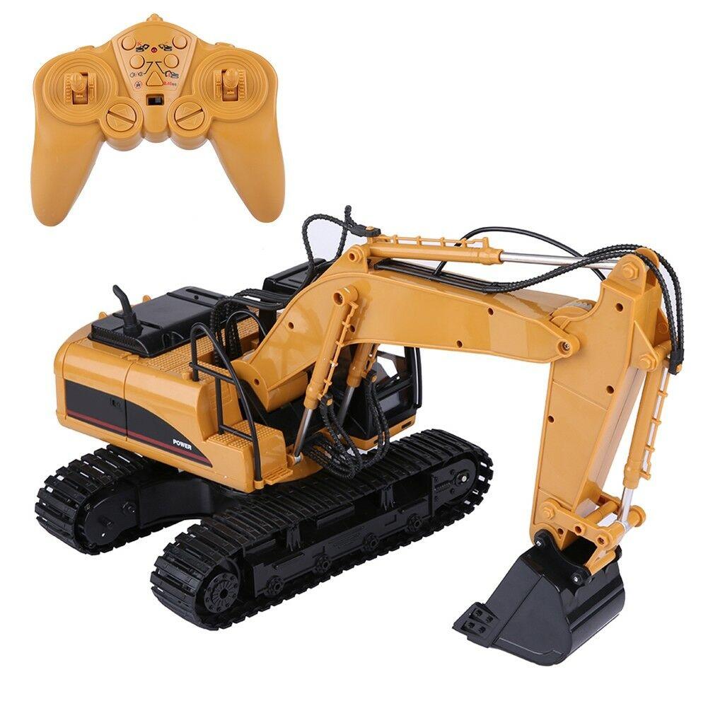 HUINA-1580-1-14-3-in-1-Full-Metal-Excavator-Drill-Grapple-RC-Engineering-Car-s miniature 14