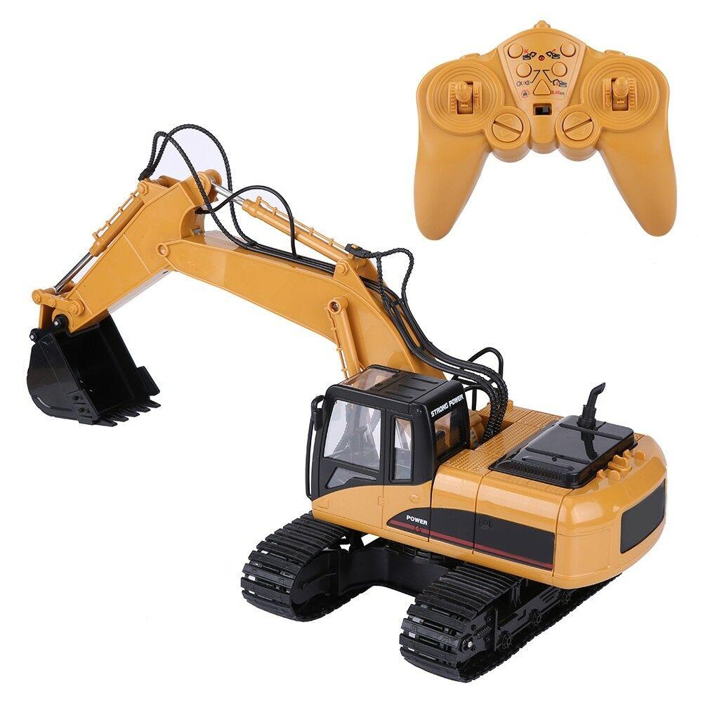 HUINA-1580-1-14-3-in-1-Full-Metal-Excavator-Drill-Grapple-RC-Engineering-Car-s miniature 15