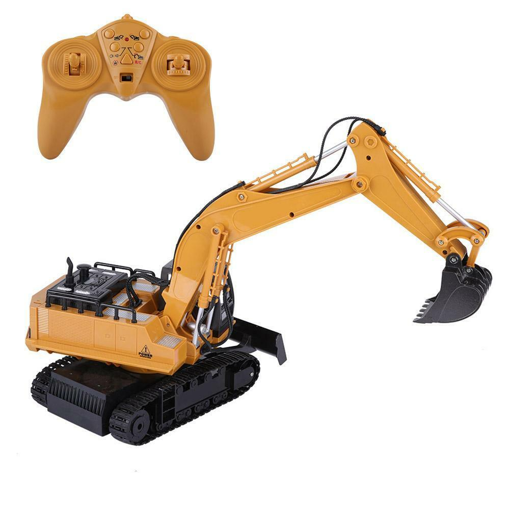 HUINA-1580-1-14-3-in-1-Full-Metal-Excavator-Drill-Grapple-RC-Engineering-Car-s miniature 18