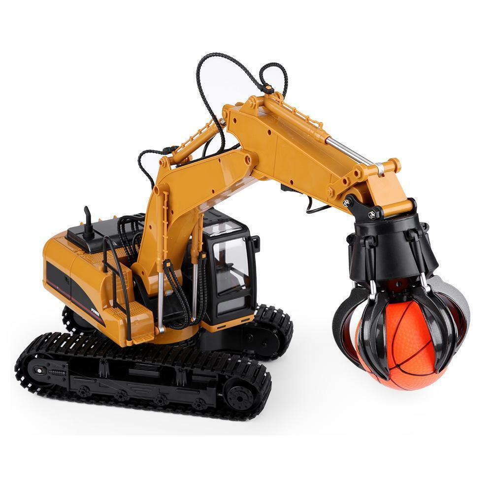 HUINA-1580-1-14-3-in-1-Full-Metal-Excavator-Drill-Grapple-RC-Engineering-Car-s miniature 30