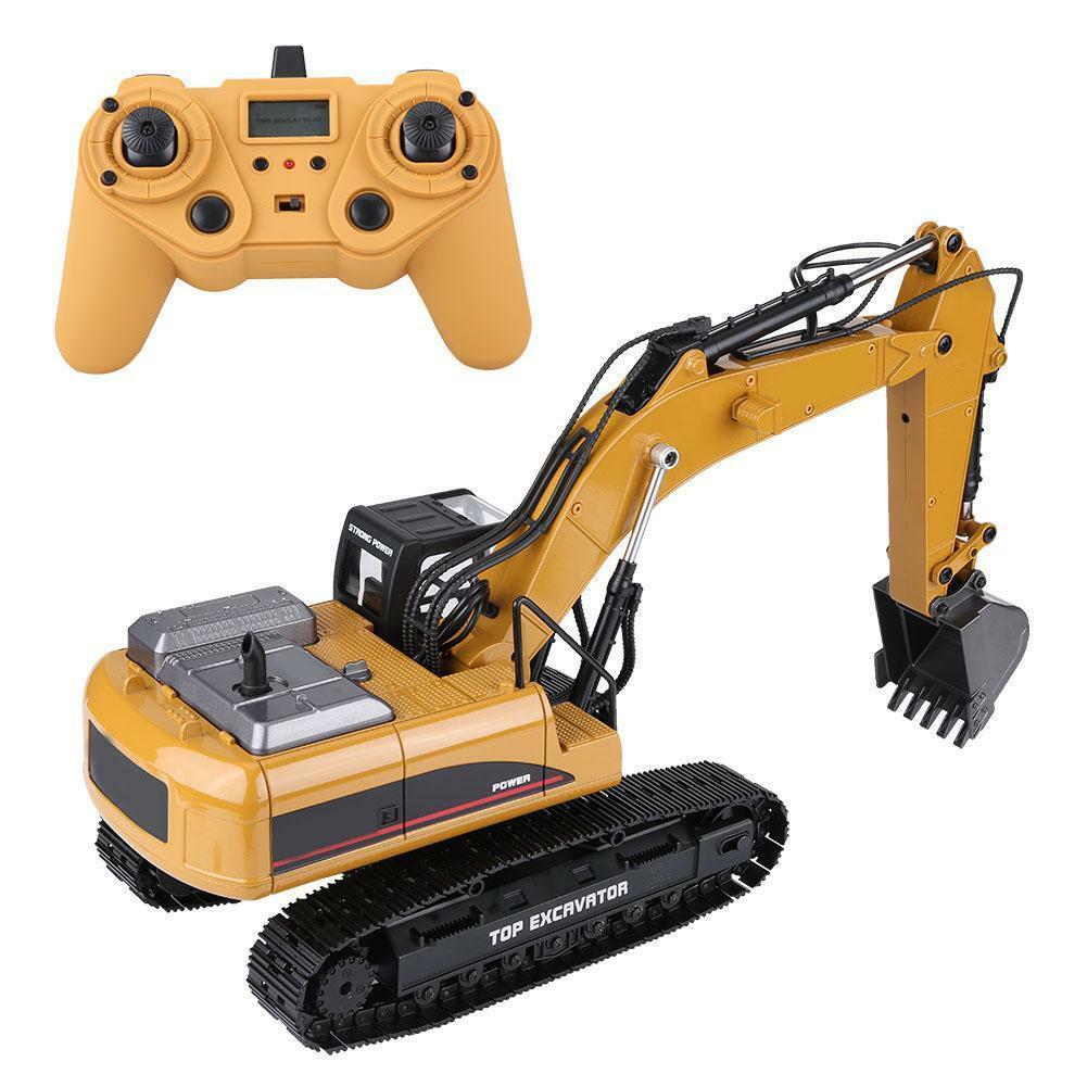 HUINA-1580-1-14-3-in-1-Full-Metal-Excavator-Drill-Grapple-RC-Engineering-Car-s miniature 32