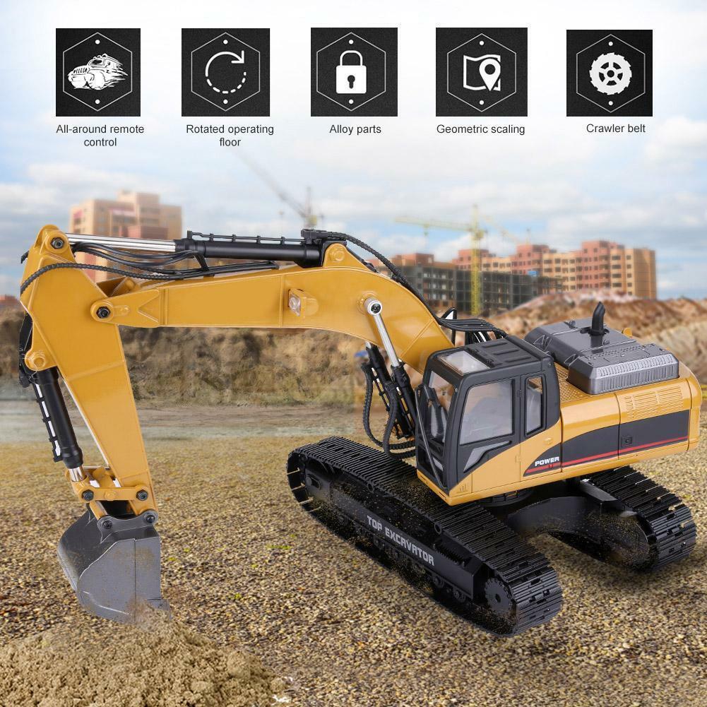 HUINA-1580-1-14-3-in-1-Full-Metal-Excavator-Drill-Grapple-RC-Engineering-Car-s miniature 33