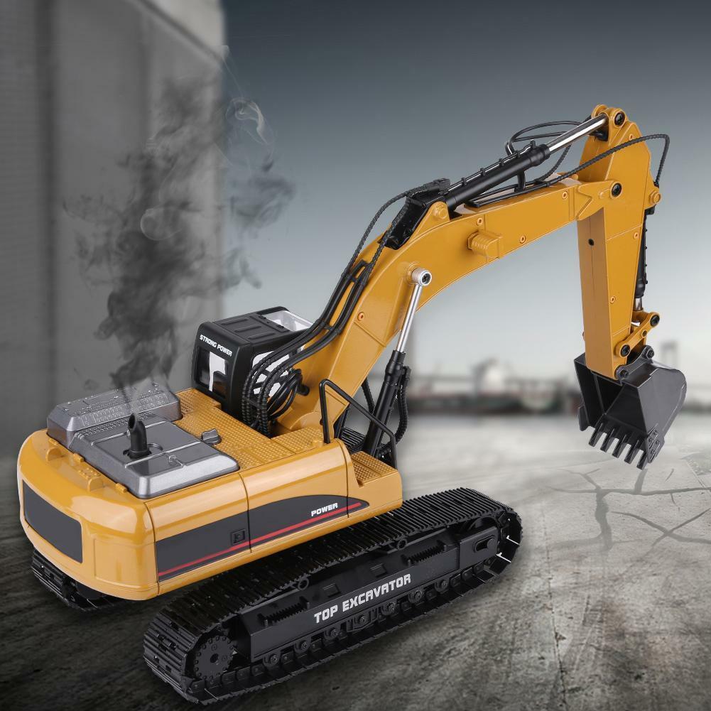 HUINA-1580-1-14-3-in-1-Full-Metal-Excavator-Drill-Grapple-RC-Engineering-Car-s miniature 34
