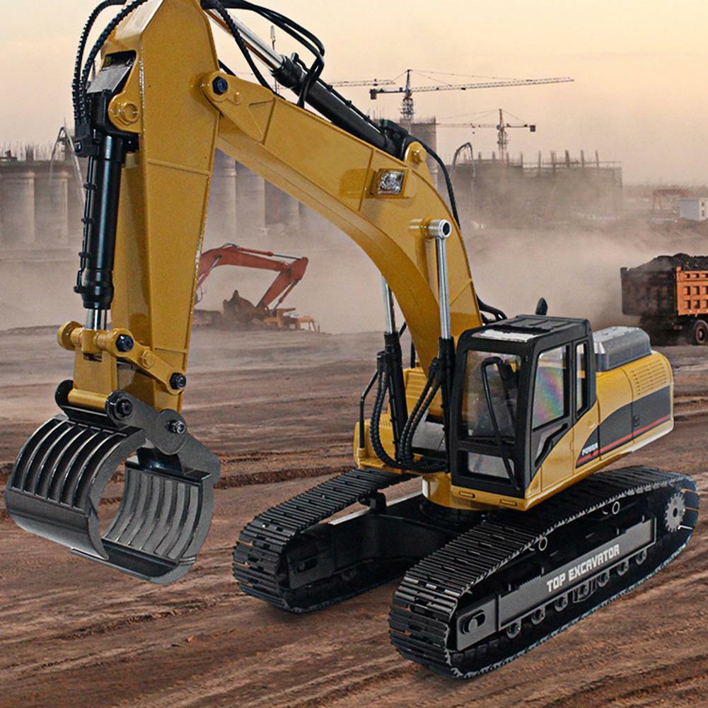 HUINA-1580-1-14-3-in-1-Full-Metal-Excavator-Drill-Grapple-RC-Engineering-Car-s miniature 35
