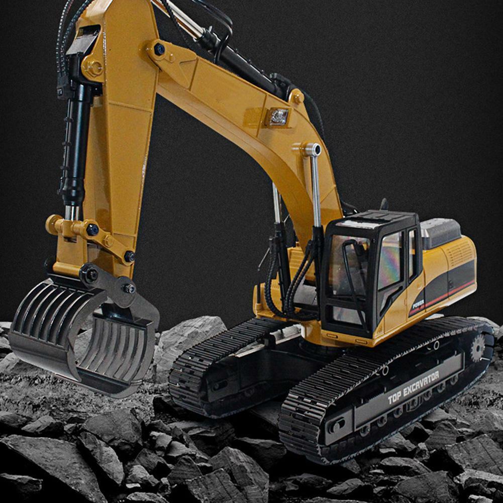 HUINA-1580-1-14-3-in-1-Full-Metal-Excavator-Drill-Grapple-RC-Engineering-Car-s miniature 36