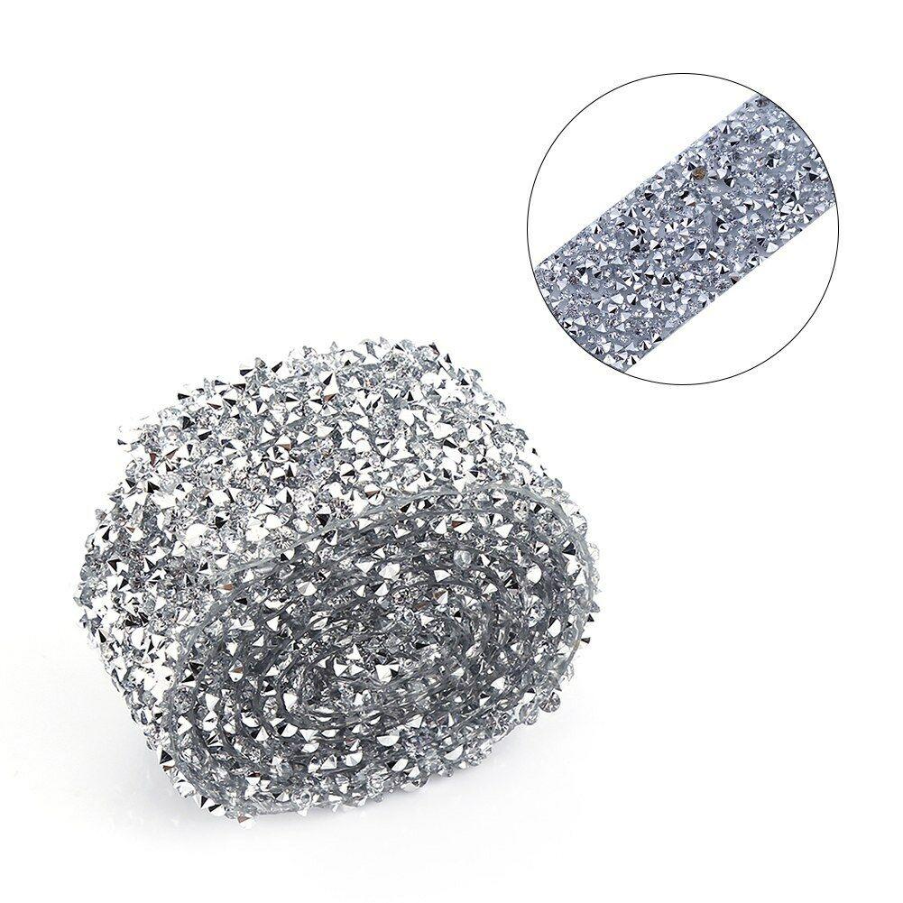 Crystal-Diamante-Rhinestone-Banding-Silver-Mesh-Trim-Wedding-DIY-Decoration-3cm thumbnail 13