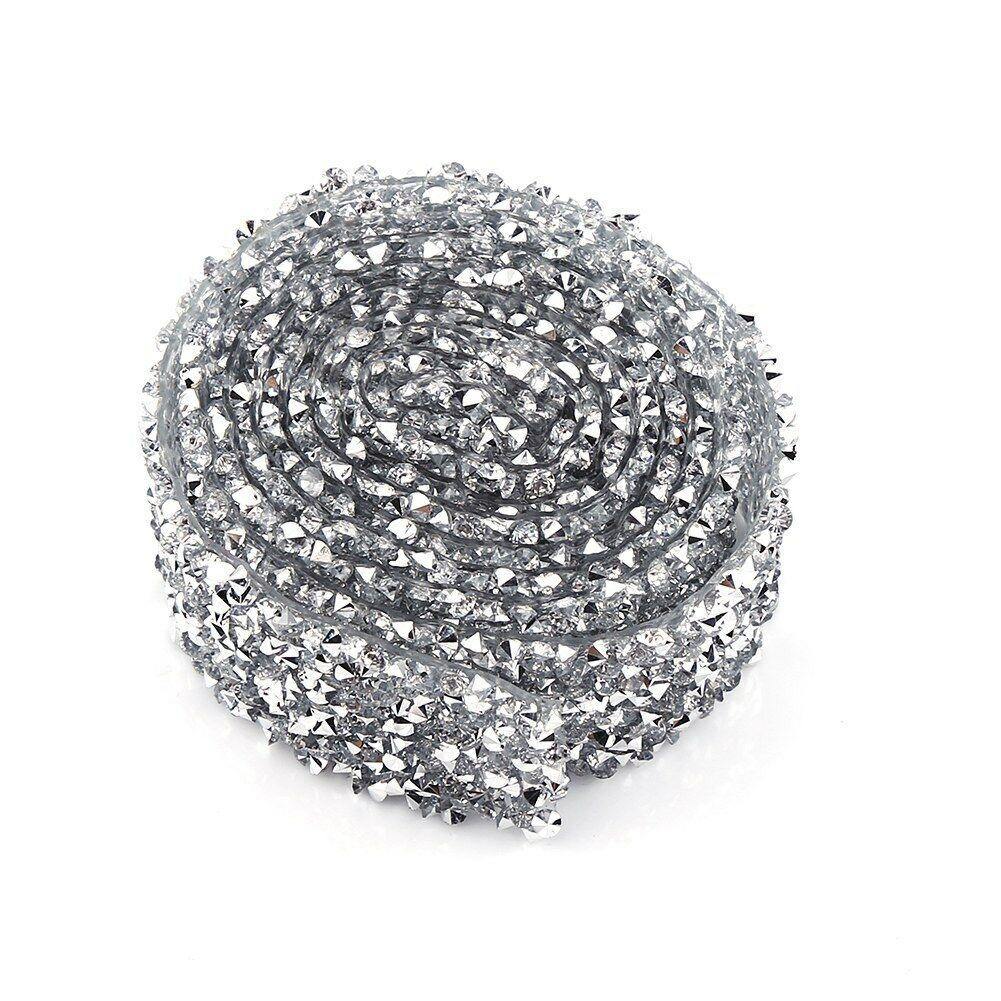 Crystal-Diamante-Rhinestone-Banding-Silver-Mesh-Trim-Wedding-DIY-Decoration-3cm thumbnail 12